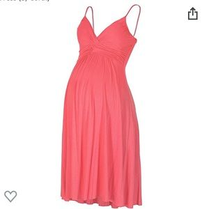 Maternity Sweetheart Party Knee-Length Dress Coral